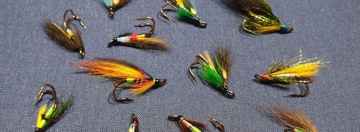 Fluguhnytingar - flugur á Mustad krókum, s.s. Autumn Hooker, Flúð, Night Hawk og fleiri